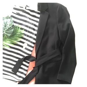 H&M Long Black Belted Blazer